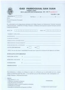 FORMULARIO DECLARACION PATRIMONIO PARA PATENTES